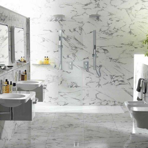 Satariano Bathooms Noken Classic all white toilet items and marble finish
