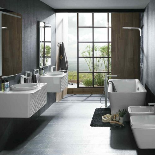 Satariano Bathooms Noken Contemporary dual sinks and mirror with storage space