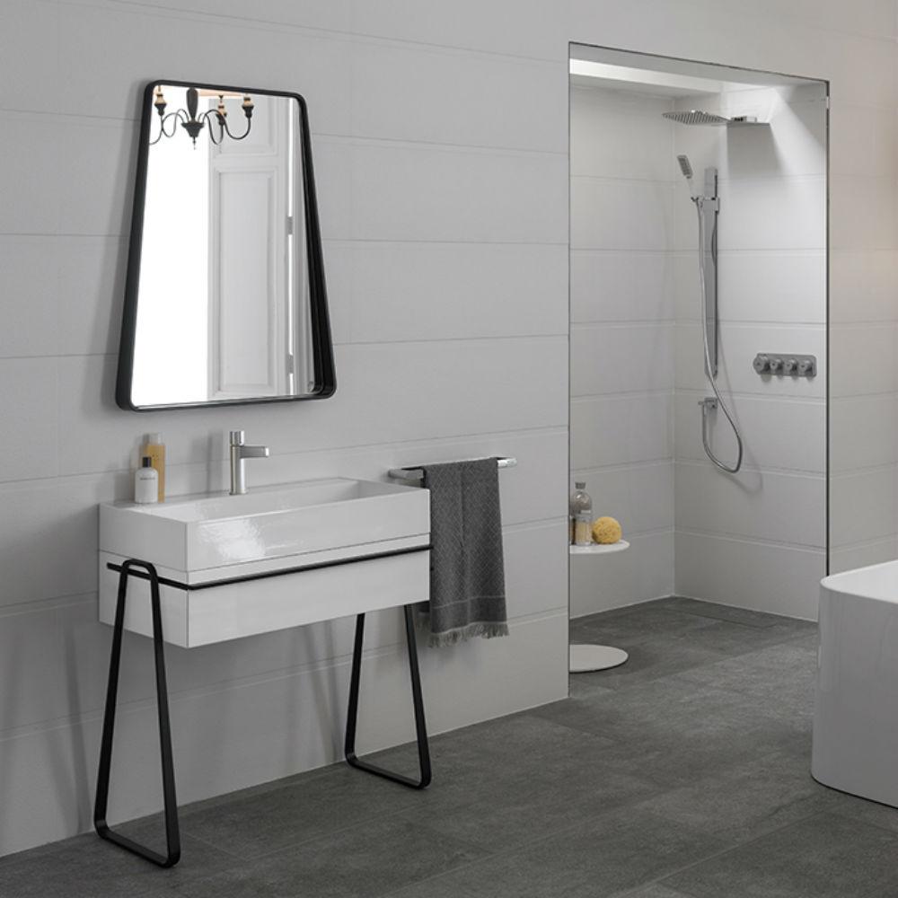 Satariano Bathooms Noken Contemporary rectangualr deep sink and mirror
