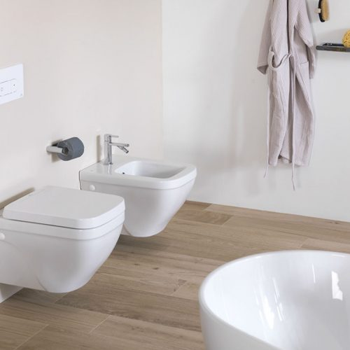 Satariano Bathooms Noken Contemporary toilet and bidet square rounded