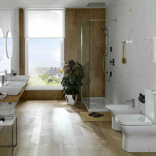 Satariano Bathooms Noken Contemporary white toilet items with wooden floor and shower wall