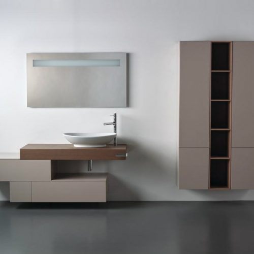 Satariano Bathrooms Ideal Standard Classic beige and light brown storage units
