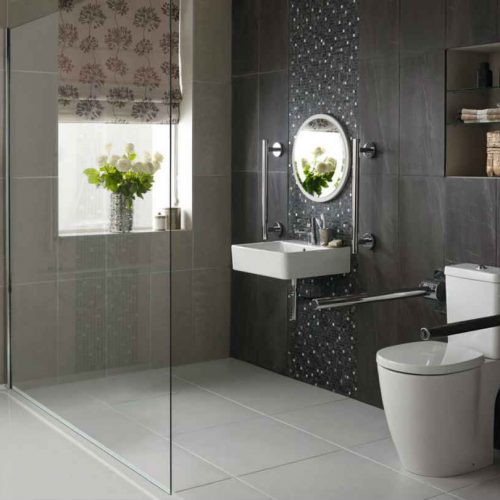 Satariano Bathrooms Ideal Standard Classic brown tiling and circular mirror