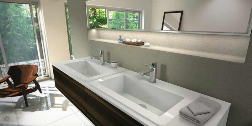 Satariano Bathrooms Ideal Standard Contemporary large mirror and dual sinks