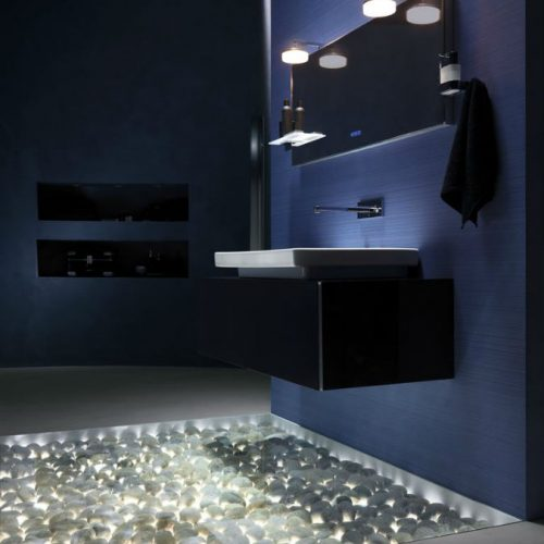 Satariano Bathrooms Ideal Standard Modern black storage unit and light bathroom lighting