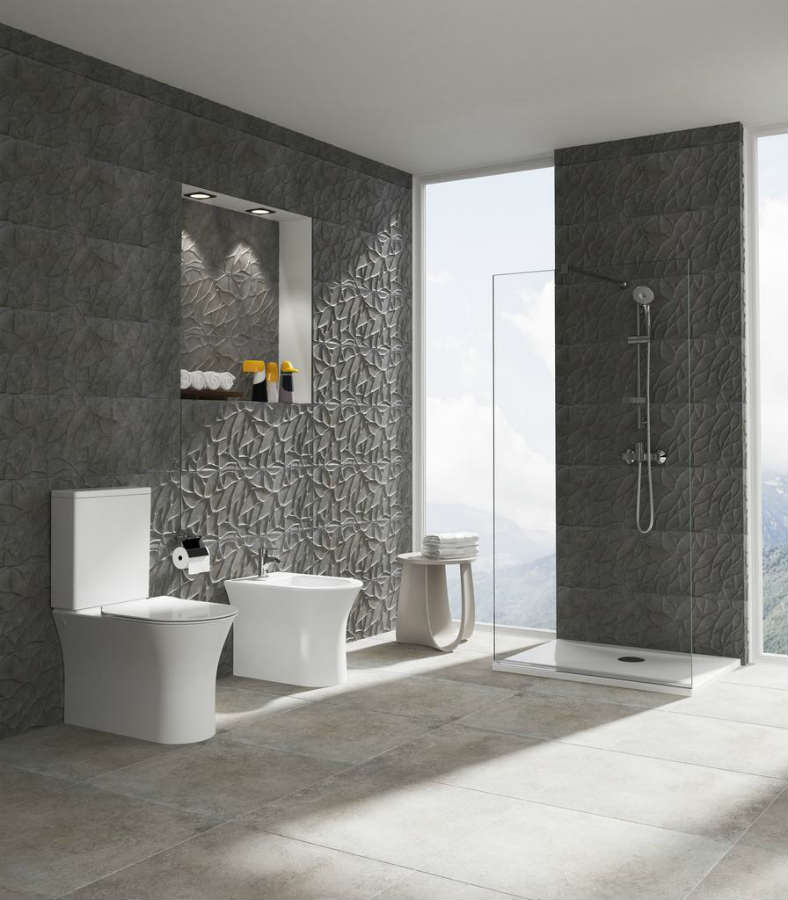 Satariano Bathrooms Ideal Standard Modern grey bathroom with large shower