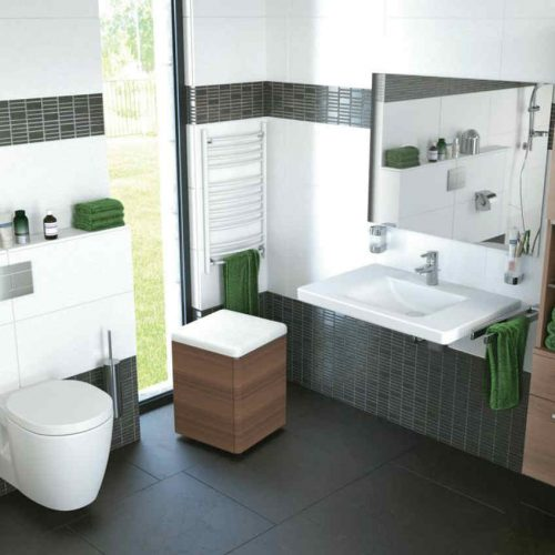 Satariano Bathrooms Ideal Standard Modern light brown storage units with white sanitary