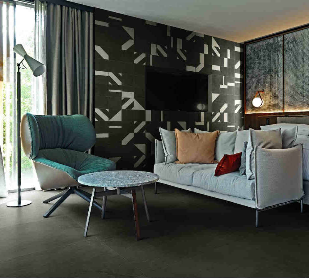 Satariano Floors and Walls Casa Dolce Casa Contemporary dark grey tiling and feature wall