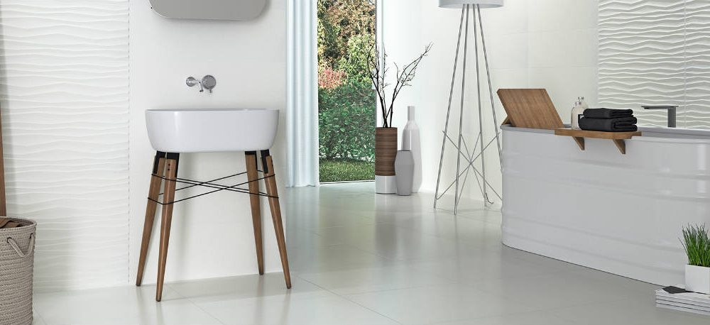 Satariano Floors and Walls Graniser Classic bathroom white textured tiles