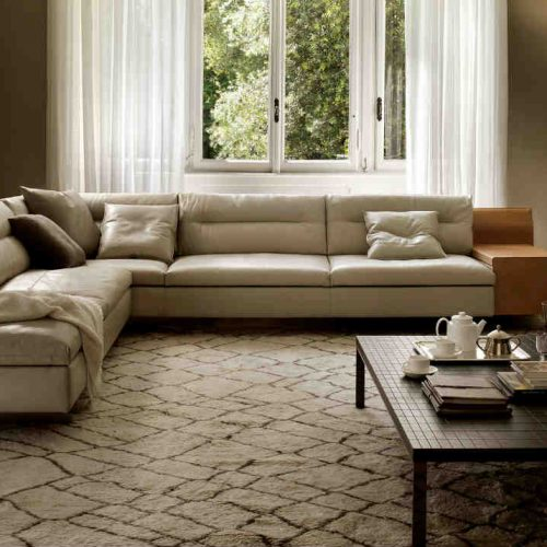 Satariano Living and Dining Poltrona Frau Classic L shaped beige light sofa