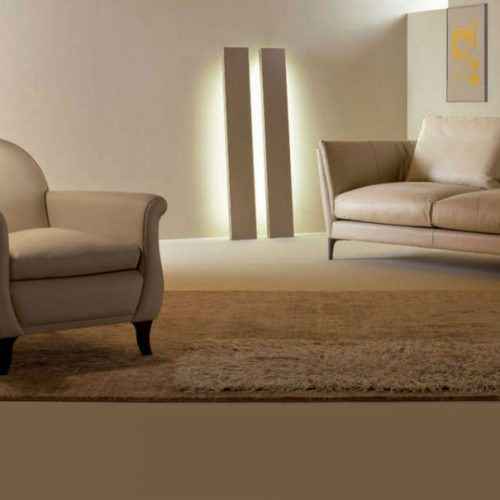 Satariano Living and Dining Poltrona Frau Classic beige sofa and armchair