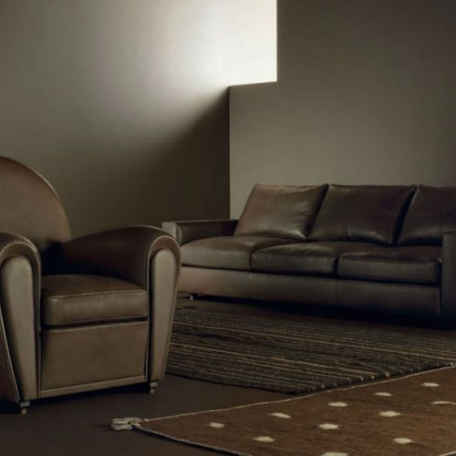 Satariano Living and Dining Poltrona Frau Classic brown leather sofa and armchair