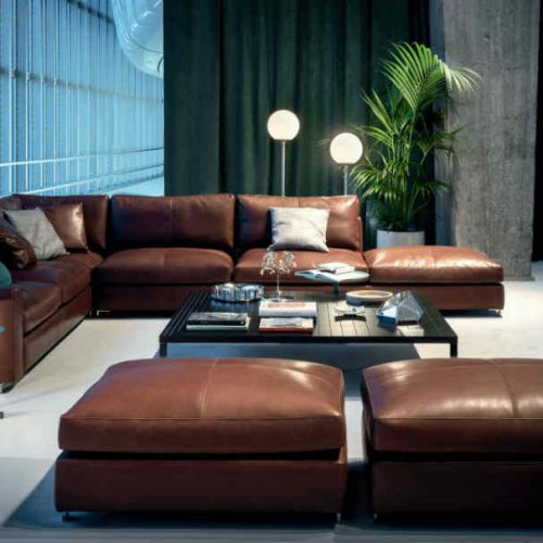 Satariano Living and Dining Poltrona Frau Classic brown poofs and sofa
