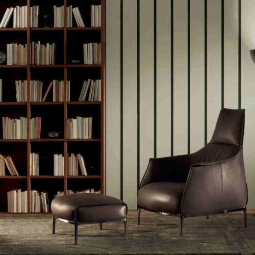 Satariano Living and Dining Poltrona Frau Contemporary brown leather armchair and foot poof