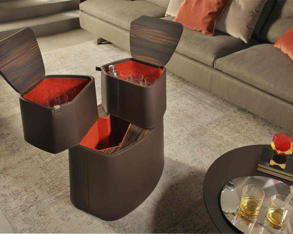 Satariano Living and Dining Poltrona Frau Contemporary versatile coffee table brown leather finish