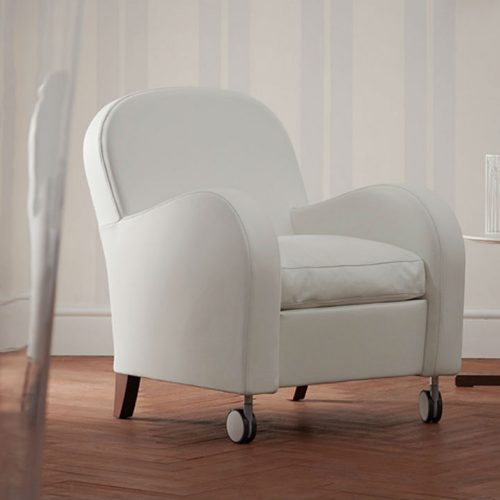 Satariano Living and Dining Poltrona Frau Contemporary white armchair on wheels