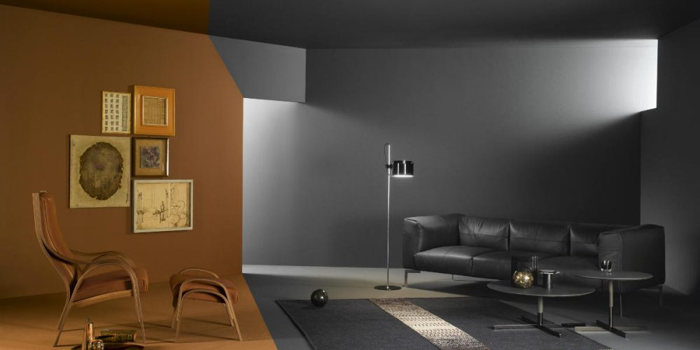 Satariano Living and Dining Poltrona Frau Modern grey sofa and brown armchair