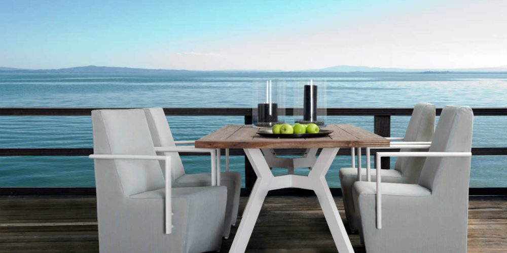 Satariano Outdoor and Spa Applebee wooden and white outside furniture