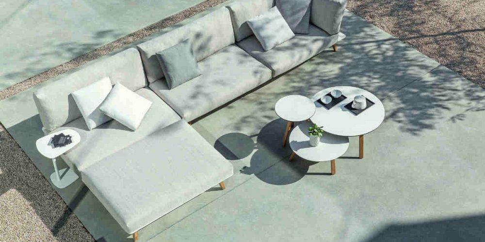 Satariano Outdoor and Spa Diphano outside large L shaped sofa