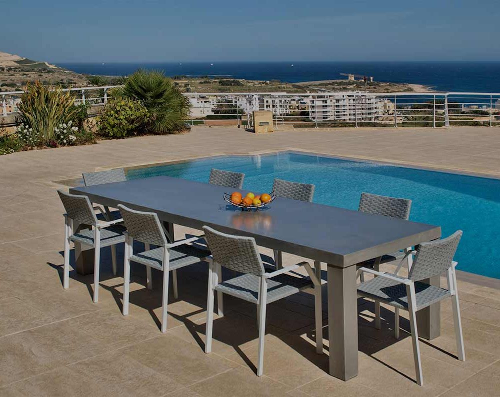 Satariano Outdoor and Spa Satariano Outdoor Furniture grey large table and chairs