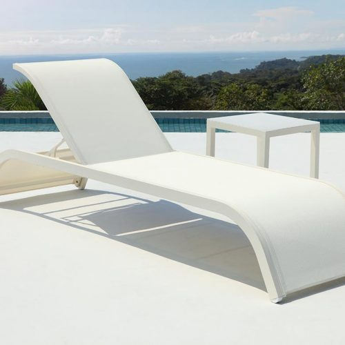 Satariano Outdoor and Spa Satariano Outdoor Furniture white tanning deckchair